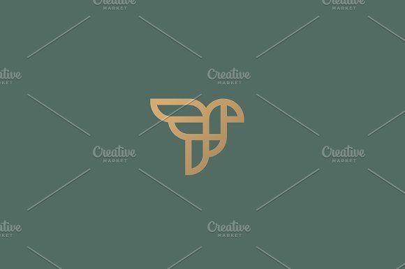 Abstract bird logo design. Creative eagle line symbol. Luxury linear falcon hawk logotype. by Bureau on @creativemarket