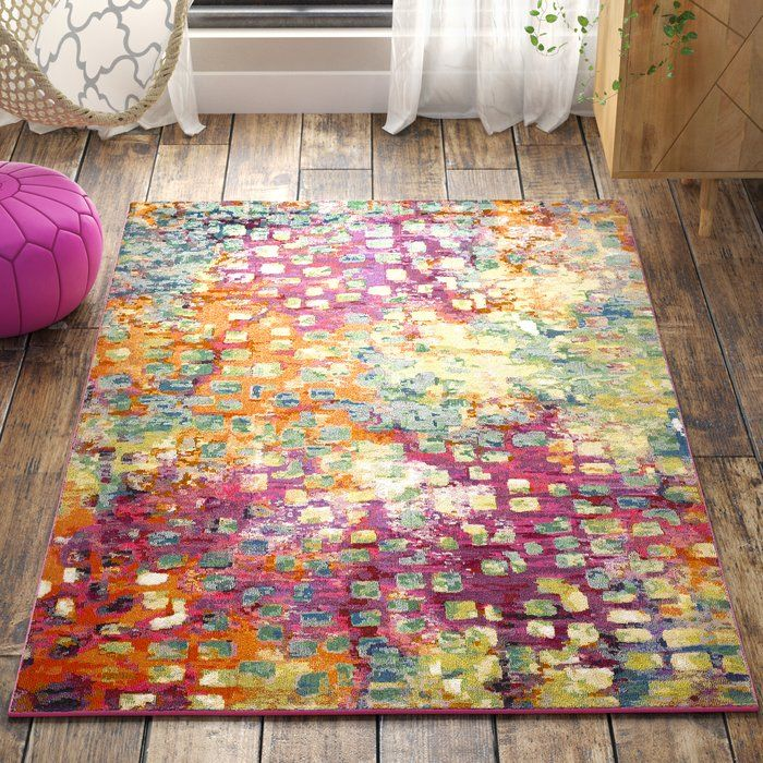 Feist Abstract Pink Green Yellow Area Rug Area Rugs Yellow Area