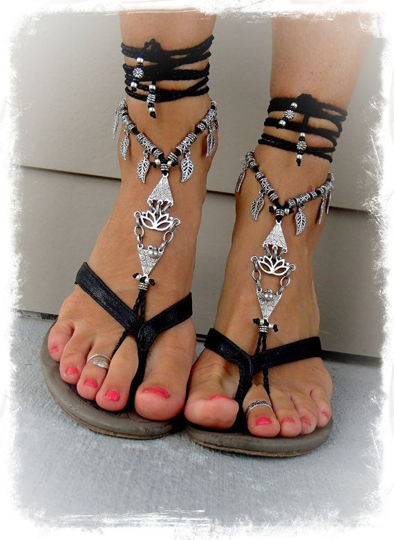 Reserved. Black Silver LOTUS BAREFOOT WEDDING sandals by GPyoga, $84.00