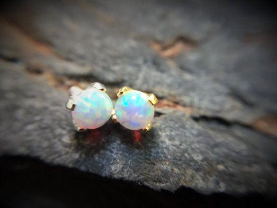 14k Gold Dermal Top Opal Stone White Gold by WildKlassJewelry