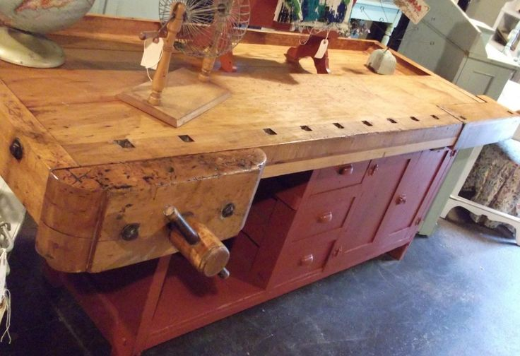 Antique Reclaimed Workbench Turned Into A Kitchen Island