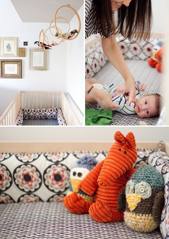 Nice mix of color and pattern in this nursery...lots for baby to look at.