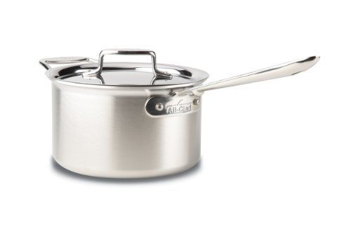 All-Clad Brushed Stainless D5 4-Quart Sauce Pan with Lid by All-Clad. $290.00. 18/10 stainless steel cooking surface will not react with food. 4-quart sauce pan is a versatile, necessary everyday pan. Compatible with all cooktops, optimal for induction. Stainless steel handles are permanently secured with stainless steel rivets. Dishwasher, oven and broiler safe. All-Clad Brushed Stainless D5 4-quart Sauce Pan features high straight sides and a smaller surface are...