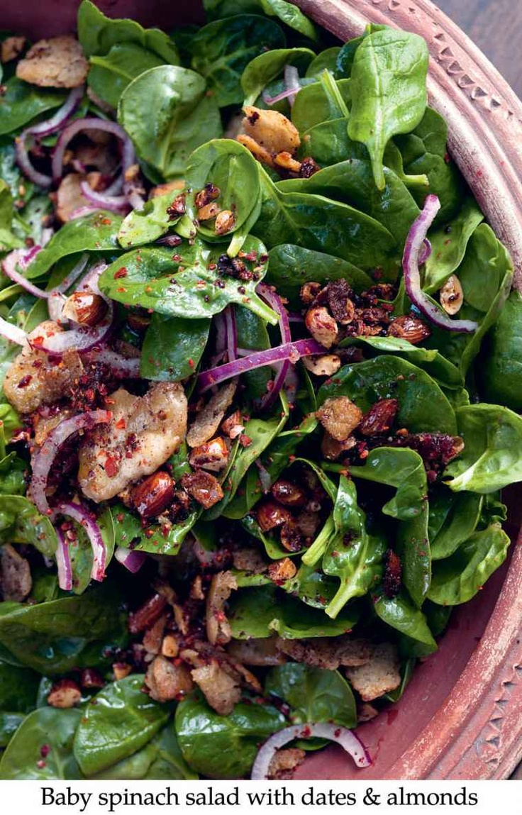 Baby Spinach Salad with Dates & Almonds from Ottolenghi's Jerusalem