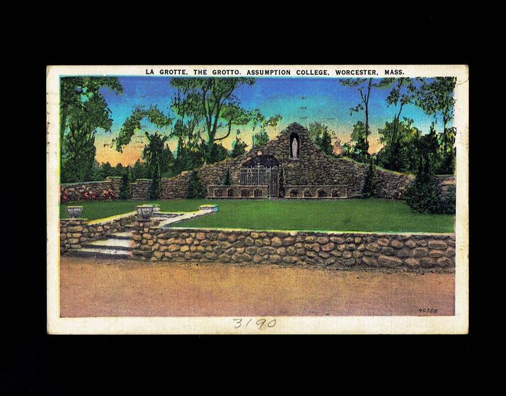 Massachusetts, Worcester: Assumption College the Grotto – United Art – Linen Postcard lot #ma4pc by VicsStamps on Etsy