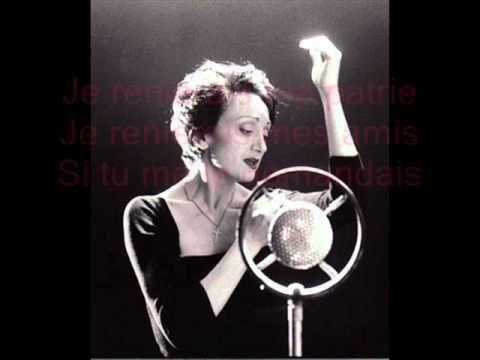 Edith Piaf - L'hymne à l'amour + Paroles - YouTube