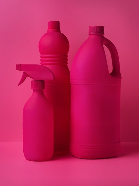 pink bottles monochrome still life • Pinterest • @camillaloves22