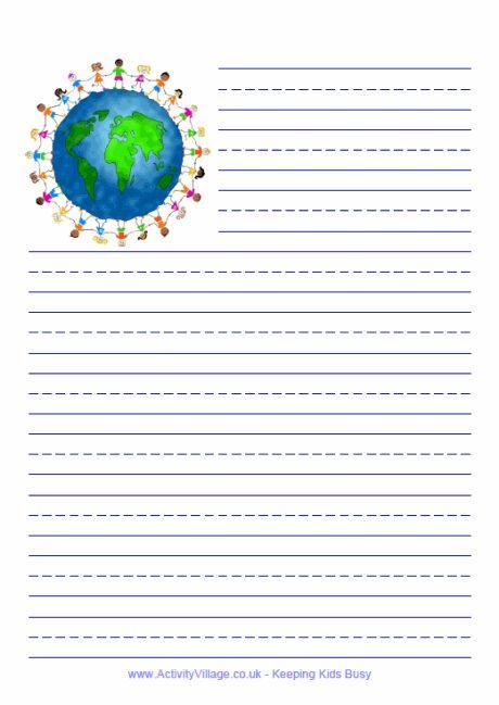 Children of the world writing paper