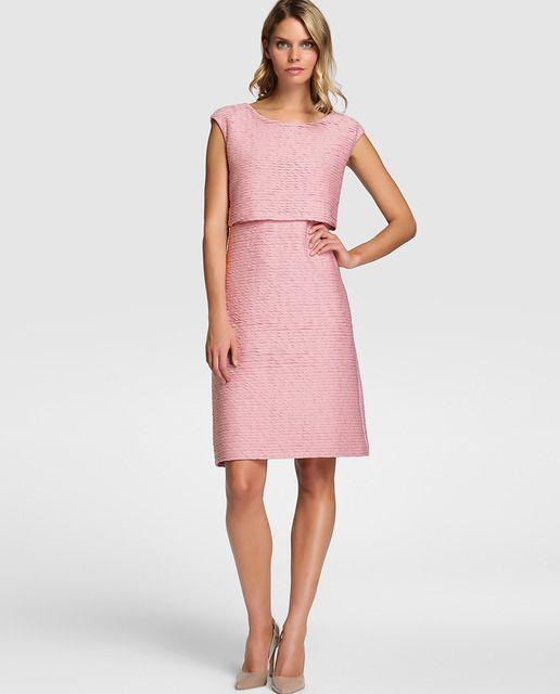 Vestido plisado de mujer Fiesta El Corte Inglés en color rosa