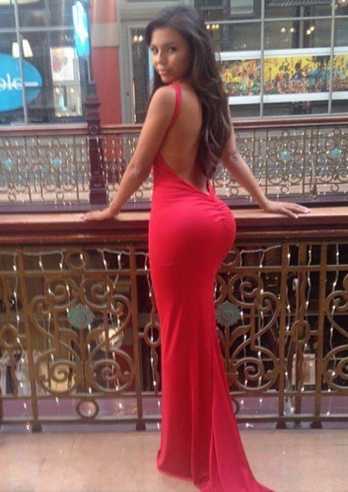 Skin Tight Red Prom Dress