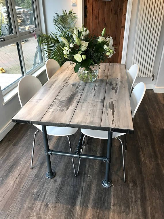 4 Person Dining Table And Bench Industrial Meets Shabby Chic Handmade By Trendless In Norfolk Shabby Chic Kitchen Dining Table Industrial Style Dining Table