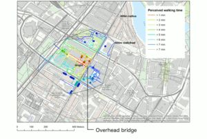 Comparison of walksheds with Pedestrian Accessibility Tool: impact of replacing a pedestrian overhead bridge with a conventional zebra crossing.