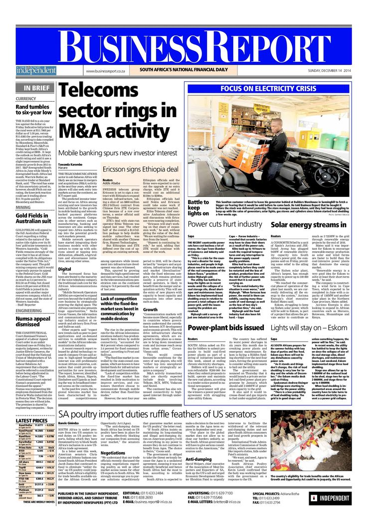 Today's Business Report newspaper front page (December 14, 2014) deals with the telecommunications sector in sub-Saharan Africa, Eskom's woes and local poultry import duties ruffle US senators' feathers.  To read these stories and more click here: http://www.iol.co.za/business