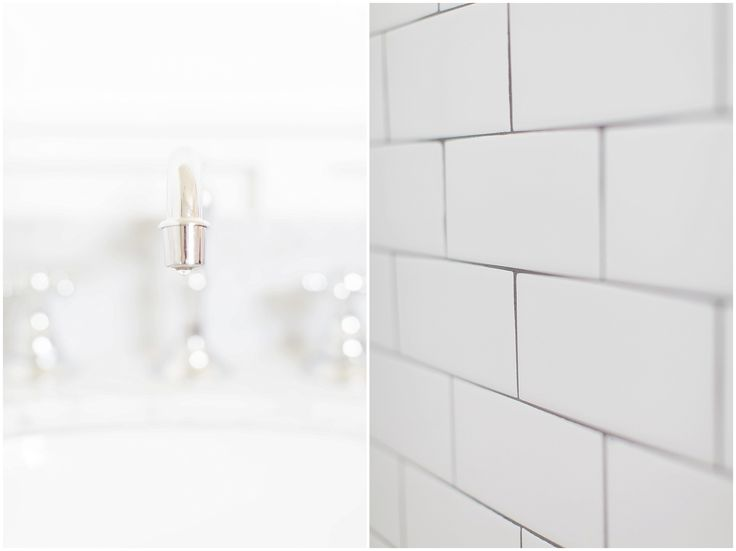Master Bathroom Details Chrome Sink Faucet and White Subway Tile with Black Grout Shower