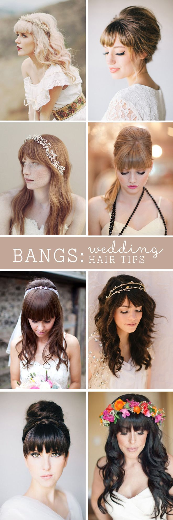 love the look of full bangs with a beautiful bridal hairstyle!  ~  we ❤ this! moncheribridals.com