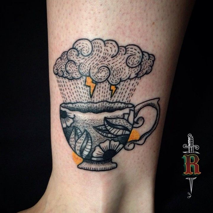 Cute grey, black, and yellow raincloud and tea cup tattoo