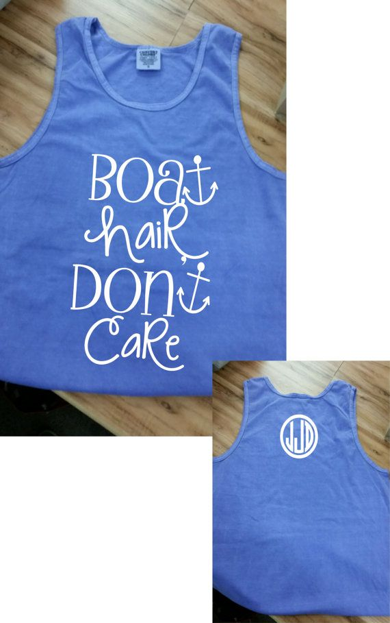 Hair don't care Monogram Comfort Color Tank by HeadSouthApparel