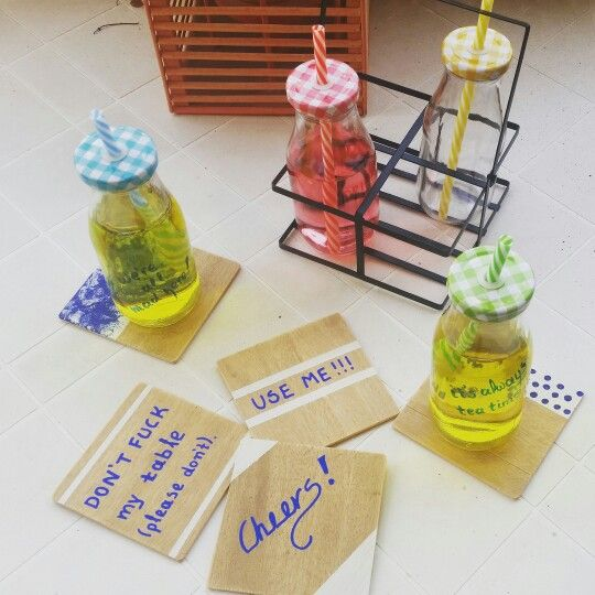 Hand-painted wooden coaster set & juice bottles!