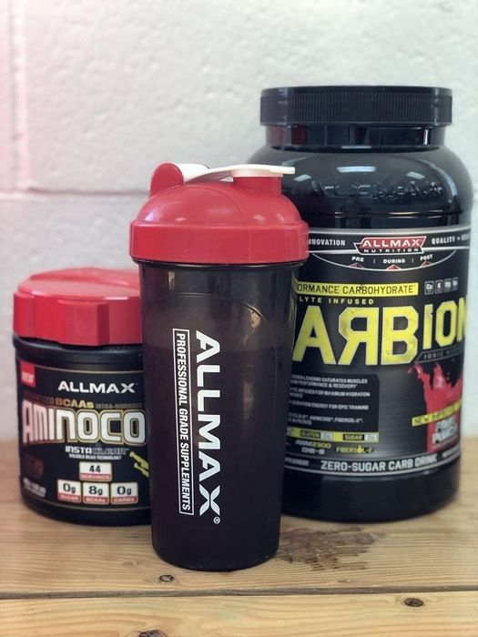#CARBION delivers a reliable, sustained energy source to power you through the toughest training. Max stays fully hydrated for ALLMAX-imum performance with the 4 essential electrolytes: Calcium, Potassium, Magnesium, and Sodium.  #AMINOCORE has a high 8.18 g dosage of #BCAAs delivered in a specific 9:6:5 ratio. AMINOCORE has 100% of your daily B-Vitamin complex, B3, B6, B9 & B12 to support energy, repair, and recovery.