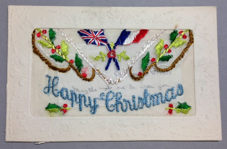 """WW1 Silk Postcard """"Happy Christmas"""" with flags of France and England and holly and with insert."""
