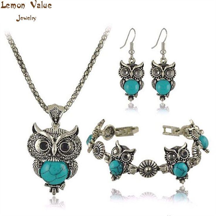 Lemon valor declaração boho mulheres conjuntos de jóias encantos turquesa brincos pulseira da moda boemia do vintage coruja colar de presente a060
