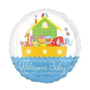 Welcome Baby Noah's Ark Mylar Balloon
