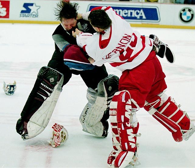 best goalie fight - Vernon and Roy in the bench clearing brawl in Detroit! Revenge for Drapes (Draper) after Lemuix's cheap shot