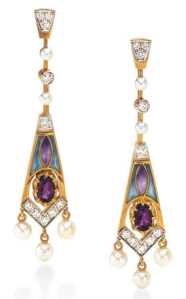 Masriera Amethyst & Enamel Earrings. Photo courtesy Cellini Jewelers 18-karat yellow gold with transluscent plique-à-jour enamel, oval-shaped amethysts, pearls and and diamond accents.: