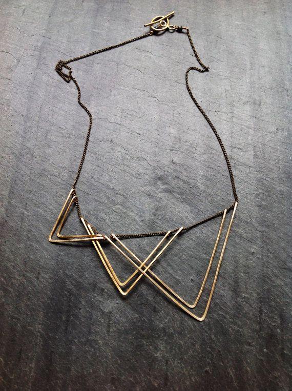 Oro geometrica vele collana-gioielli - 14k oro-riempimento geometrico-Sterling Argento geometrico-Portland martellato gioielli gioielli-triangolo del ciclo di