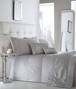 Shimmer Luxury Sequin Diamante White Silver Duvet Cover Bedding Set Double King