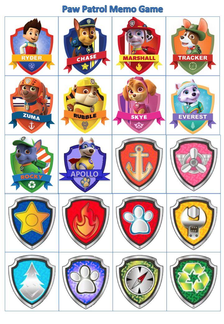 Paw Patrol - Pup-badge memo game