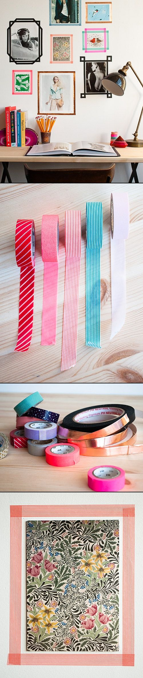 TAPE PICTURES FRAME. I totally love this idea!