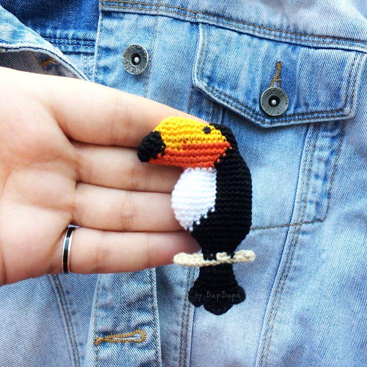 Брошь крючком тукан • Crochet brooch Toucan