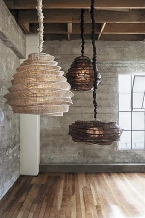 Inspiring way to use an old craft in new ways... weaved lampshades.