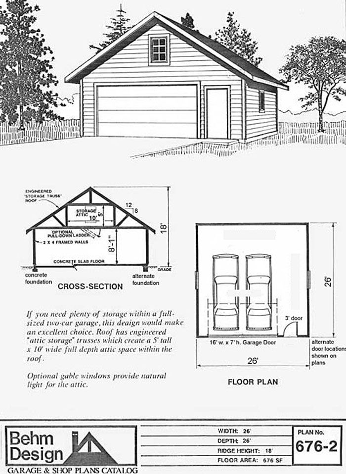 26 X 26 26x26 26 X26 Two Car Garage With Attic Truss