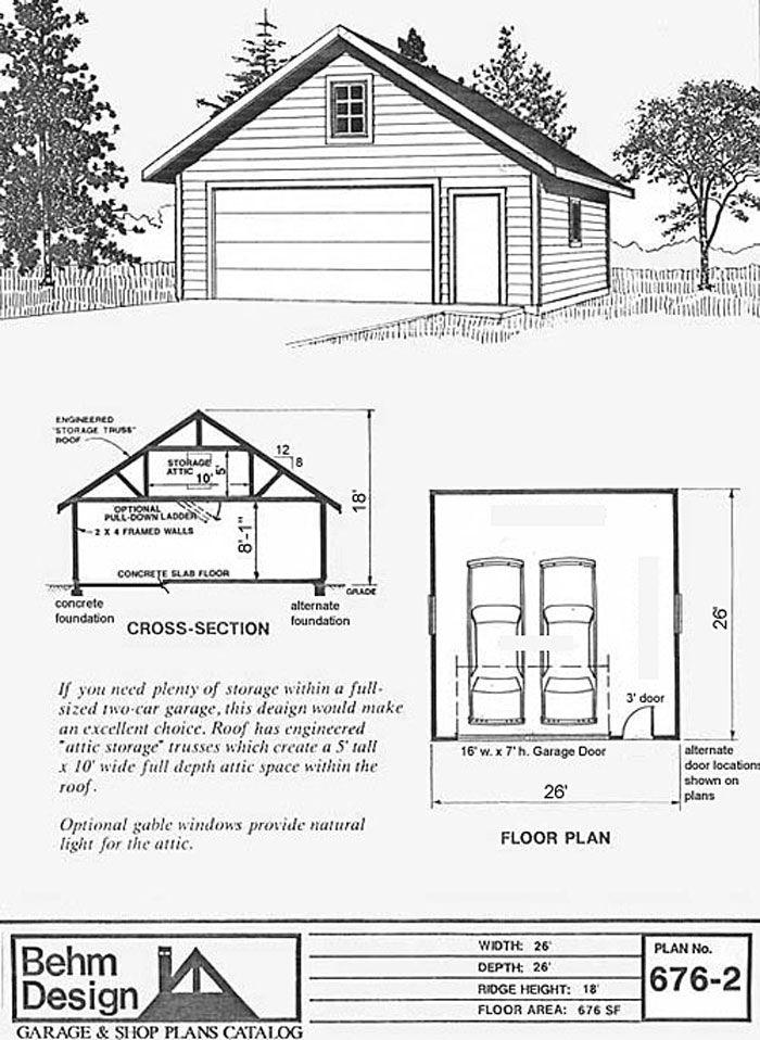 26 x 26 26x26 26'x26' two car garage with attic truss
