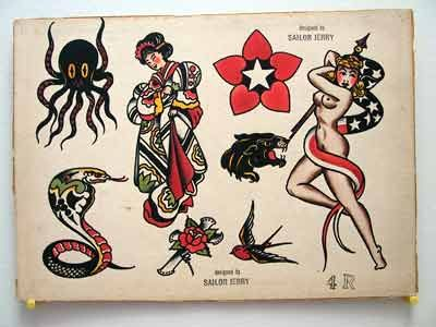 Vintage Tattoo Flash Sailor Jerry Collins Flash For Sale: Cobra and Giesha Tattoo Flash Sheet 4 R: Marketplace for Authentic Tattoo Flash