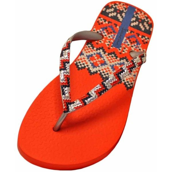 Orange & Silver Ipanema Tribal Pattern Trends Flip Flop (£11) ❤ liked on Polyvore featuring shoes, sandals, flip flops, flip flops women, footwear, orange, orange shoes, ipanema flip flops, silver strap shoes and silver sandals