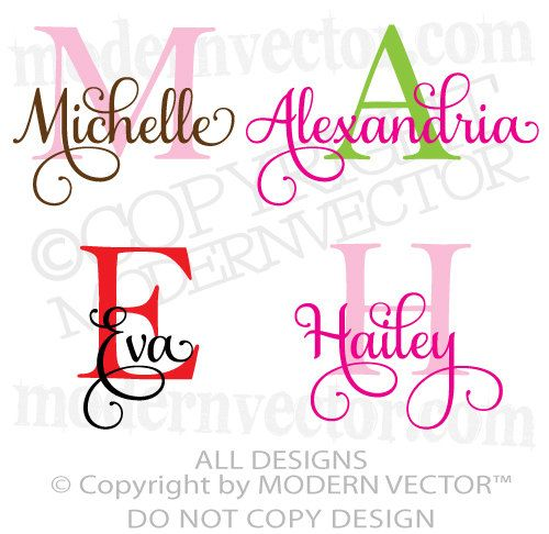 Monogram personalized name vinyl wall decal sticker boys girls nursery bedroom