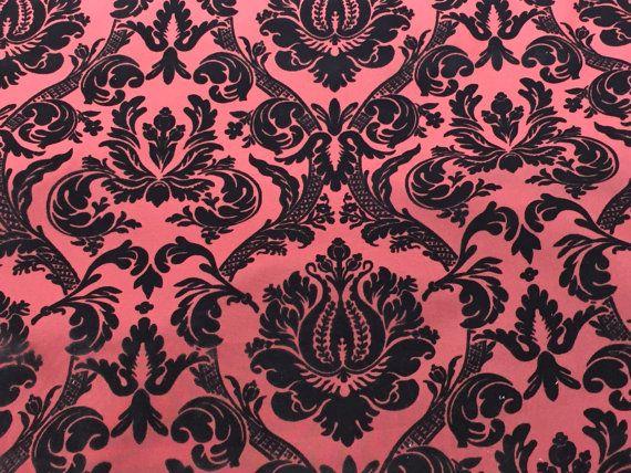 Black damask flock on Burgundy faux silk velvet by TheFabricShopUK