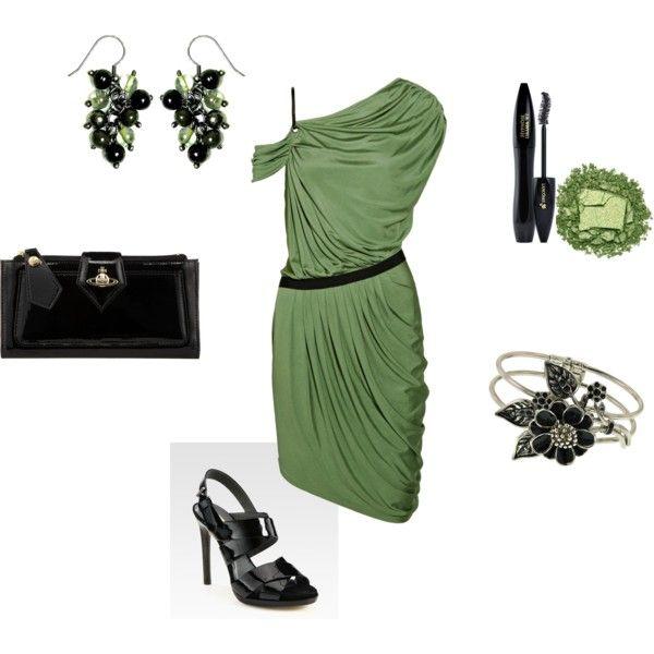 Green One Shoulder DressHead Piece