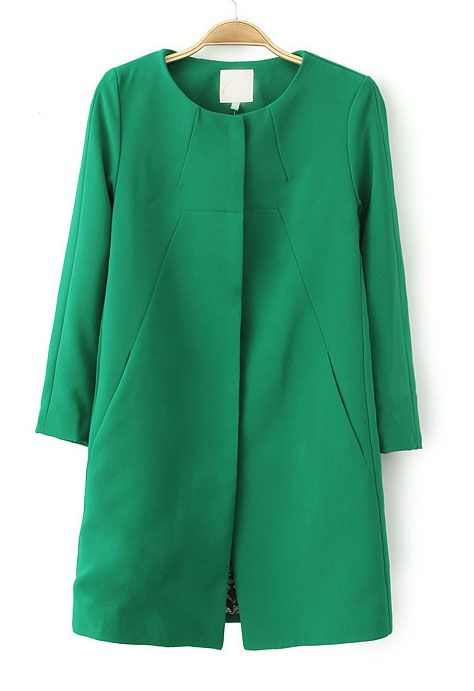 Green Long Sleeve Slim Pockets Trench Coat