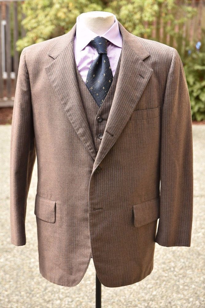 TRAD VTG *BROOKS BROS* 346 3-Pc Brown Pinstripe 3/2 Flat Front Sack Suit USA 44 | Clothing, Shoes & Accessories, Men's Clothing, Suits | eBay!