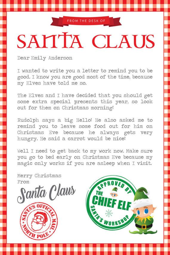 Write a personal letter to santa
