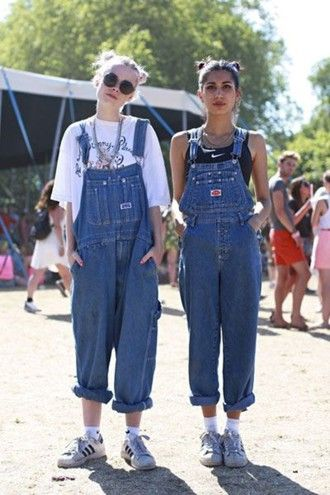 jumpsuit dungarees overalls denim oversized grunge 90s style sunglasses summer hipster glasses hair hairstyles nike nike shoes oversized t-shirt roll-…