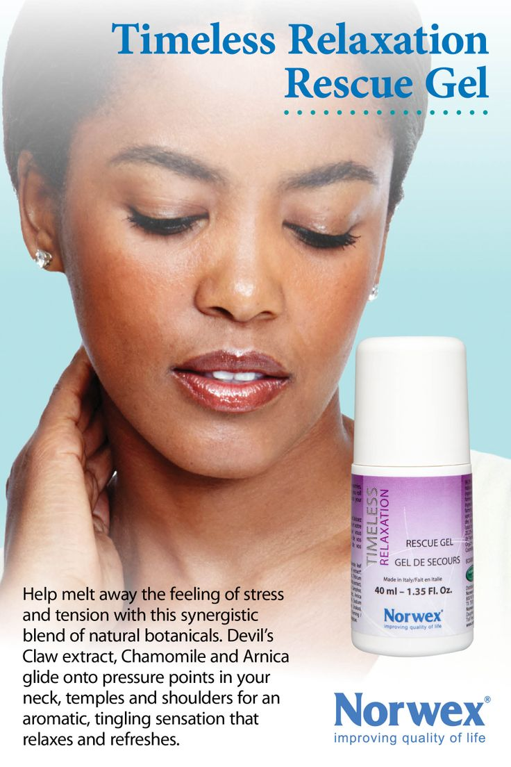 Timeless Relaxation Rescue Gel by Norwex.  The unique roller-ball application supplies a synergistic blend of natural and organic botanicals that work together to provide a mind-relaxing formula with a tingling sensation that melts away stress, tension and tightness. 99.78% of the total ingredients are from natural origin. • Natural botanicals include chamomile, menthol, camphor, Devil's Claw and Arnica montana extract. • 95.38% of the vegetal ingredients are from organic farming…