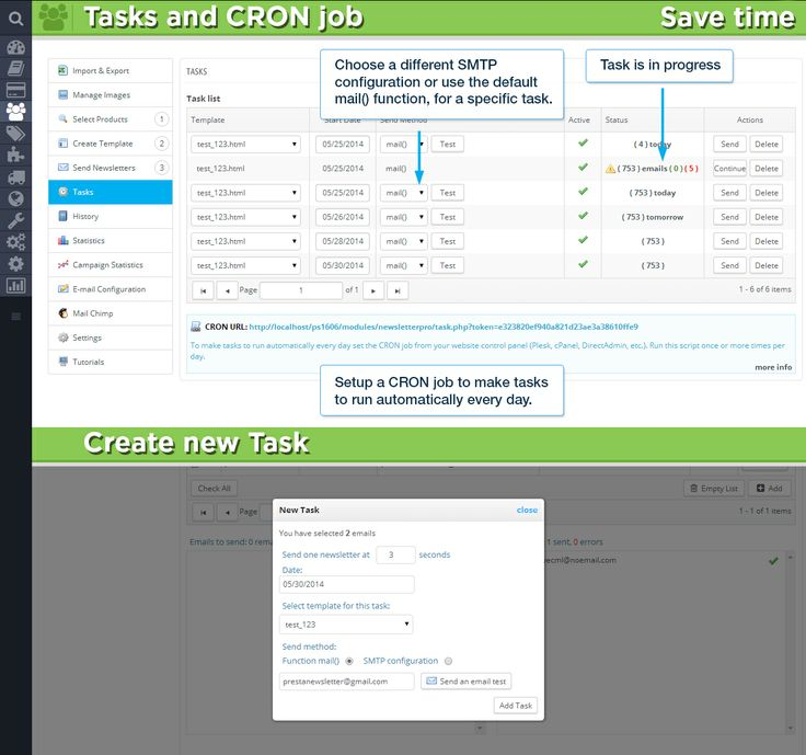 Task and CRON job / Save time / Create a new Task. Choose a different SMTP configuration or use the default mail() function, for a specific task. Setup a CRON job to make tasks to run automatically every day.