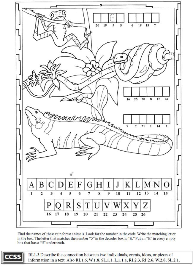"""Marvelous Rain Forest Theme Worksheet and Coloring Page. Example taken from the """"Rain Forest Activity Book"""". For sale at the great publisher Dover Publications."""