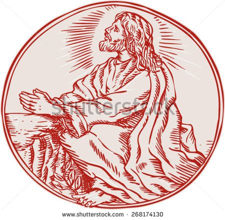 Etching engraving handmade style illustration of Jesus Christ agony in the garden looking up viewed from the side set inside circle.  - stock vector
