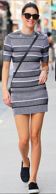 Kendall Jenner: Dress – T by Alexander Wang Purse – Celine Shoes – Kenneth Cole